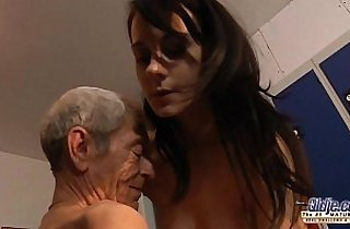 Young amateur girl is so kinky that fucks an old fart in a locker room