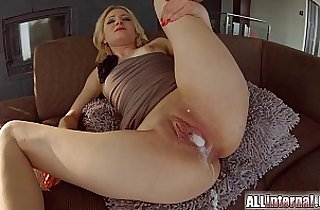 All Internal Threesome session with double creampie for blonde newbie