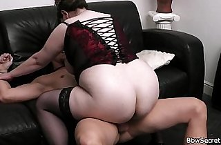 Busty bitch rides him while wife leaves