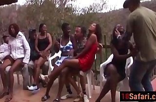 Hot interracial with nasty African sluts on the party after a Safari