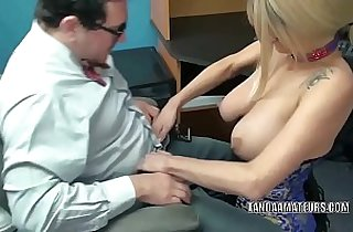 Blonde MILF Lavender Rayne blows a nerd in his office