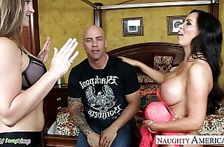 Superb chicks Dani Daniels and Nikki Benz share a big cock