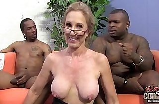 Two black guys are in love with granny teacher