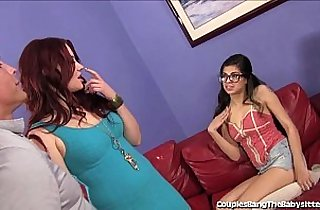 Hot Babysitter Double Teamed By Wife and Husband!