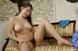 Natural hairy girl showing her body and masturbating