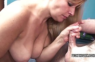 Curvy MILF Liisa is sucking a stiff white cock in the office