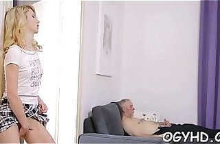 Naughty old dude fucks youthful mouth