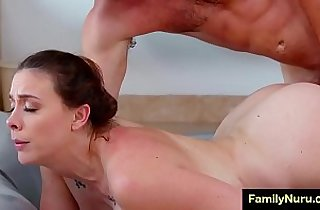 Stepmom massage sons dick under the shower