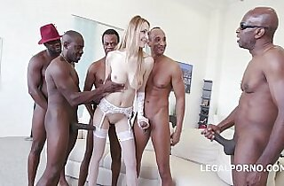 interracial Tall glamour babe Belle Claire DAP with BBC and Swallows