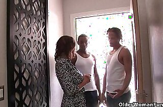 Cuckold watches his wife fucking two black cocks