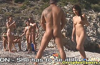 Facialized babes on beach sucking black dick