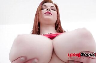 Busty 18 years old Olivia anal training with two guys