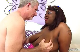 Black BBW Has a White Dick Stuffed in Her Mouth and Twat