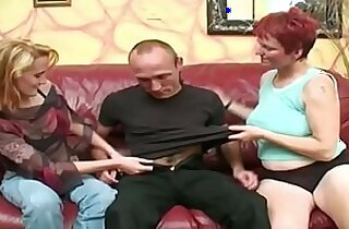 Pale redhead mature joins in with teen couple